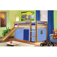 Childrens' Loft Bed With Slide Massive Pine Wood Light Blue Natrual Coloured Finish SHB/29/1033