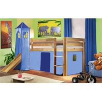 Childrens' Loft Bed With Tower and Slide Massive Pine Wood Light Blue Natrual Coloured Finish SHB/30