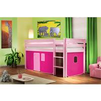 Hochbett Kinderbett Spielbett Massiv Kiefer Rosa Pink SHB/31/1363