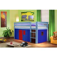 Childrens' Loft Bed Massive Pine Wood Blue Blue/Red V2 SHB/37/1365