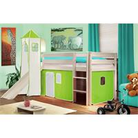 Children's Loft Bed With Tower and Slide Solid Pine Wood White Green/White SHB/42/1032