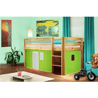 Children's Loft Bed Green/White Solid Pine Wood natural finish SHB/43/1035