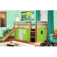 Children's Loft Bed With Slide Solid Piine Wood Natural Coloured Finish Green/White SHB/44/1033