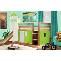 Children's Loft Bed With Tower and Slide Solid Pine Wood Natural Coloured Finish Green/White SHB/45/