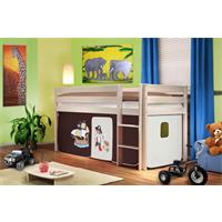 Children's Loft Bed/Playing Bed Solid Pine Wood White Pirat Brown/Beige SHB/60/1034