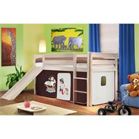 Children's Loft Bed With Slide Sold Pine Wood White Pirat Brown/Beige SHB/61/1032
