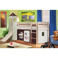 Children's Loft Bed With Tower and Slide Solid Pine Wood White Pirat Brown/Beige SHB/62/1032