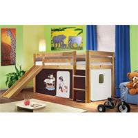 Children's Loft Bed With Slide Solid Piine Wood Natural Coloured Finish Pirat Brown/Beige SHB/64/103