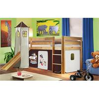 Children's Loft Bed With Tower and Slide Solid Pine Wood Natural Coloured Finish Pirat Brown/Beige S