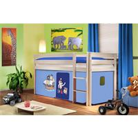 Children's Loft Bed/Playing Bed Solid Pine Wood White Pirat Blue SHB/74/1034