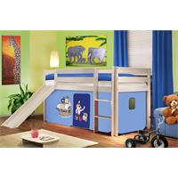 Children's Loft Bed With Slide Sold Pine Wood White Pirat Blue SHB/75/1032