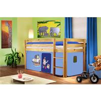 Children's Loft Bed Solid Piine Wood Natural Finish Pirat Blue SHB/77/1035