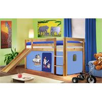 Children's Loft Bed With Slide Solid Piine Wood Natural Coloured Finish Pirat Blue SHB/78/1033