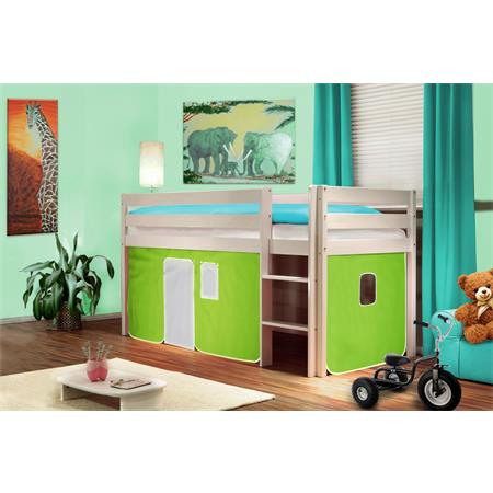hochbett kinderbett spielbett massiv kiefer wei gr n wei shb 40 1034. Black Bedroom Furniture Sets. Home Design Ideas