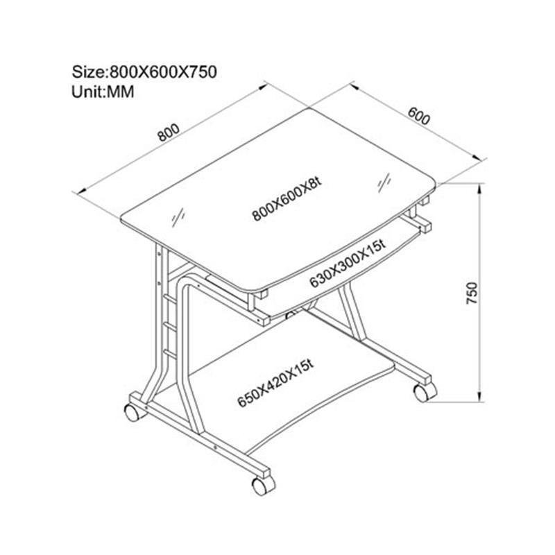 Scrivania girevole porta PC vetro/acero  CT-3791A/41