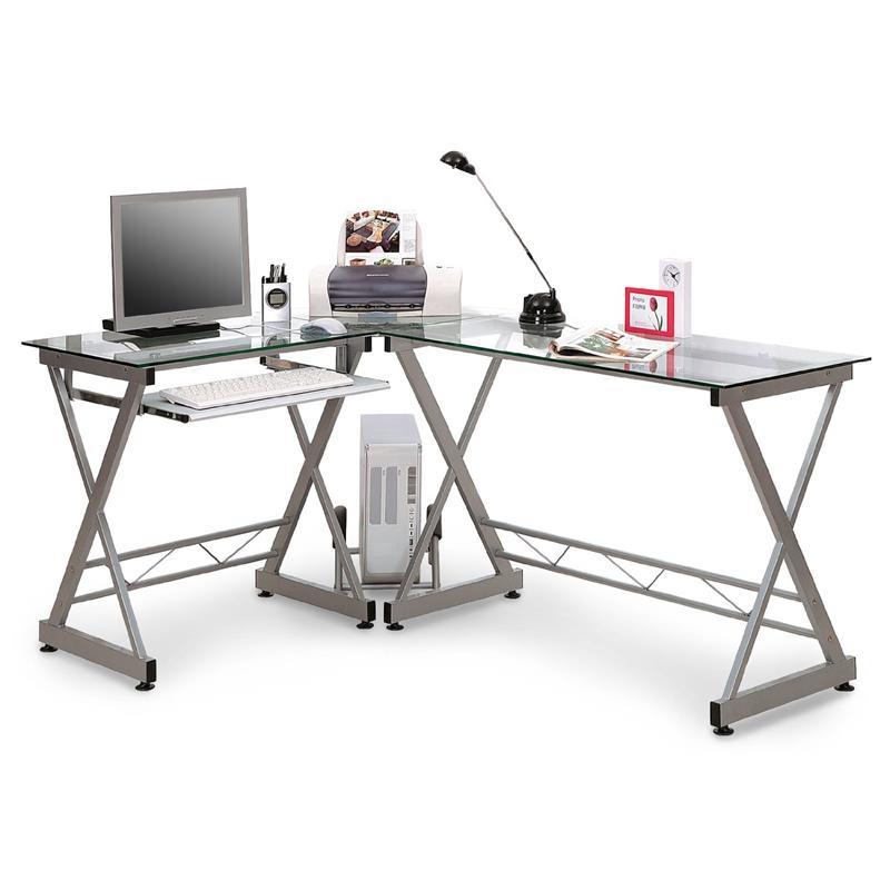 Eckschreibtisch glas  Computerschreibtisch Schreibtisch Glas/Silbergrau CT-3802/45