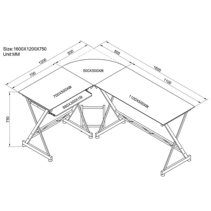 Computerschreibtisch Schreibtisch Glas/Silbergrau CT-3802/45