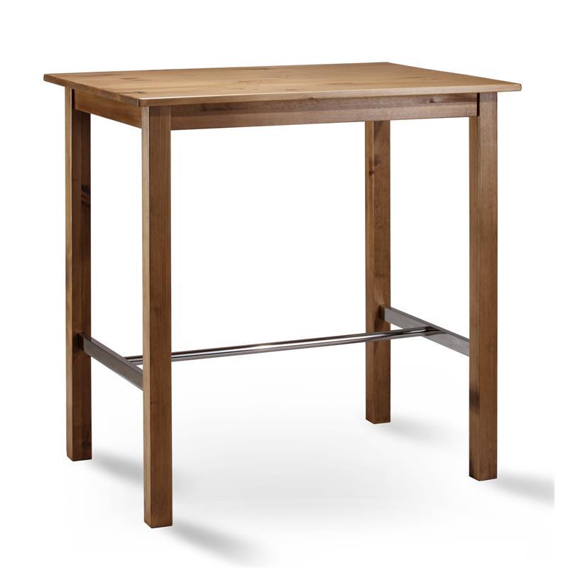 Table de bar bistro table pin massif couleur de chêne 75x105 BT-105/113