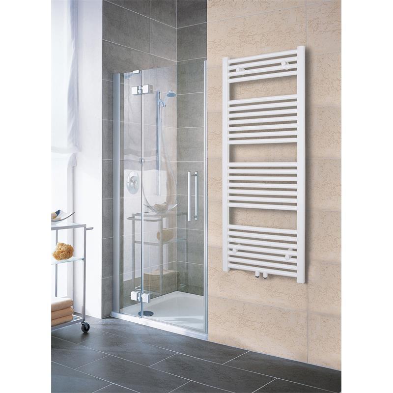 Radiatore bagno scaldasalviette larghezza 500 mm dritto bianco raccordi centrali laterali r18 - Scaldasalviette da bagno ...