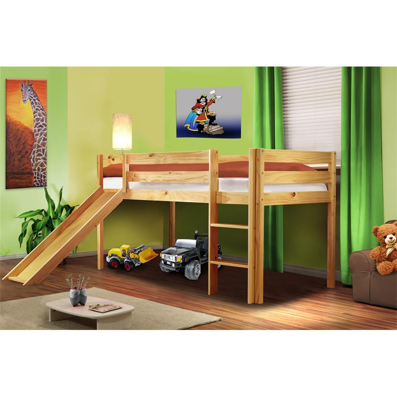 Children's Loft Bed With Slide  pine wood (natural coloured finish) SHB/1033