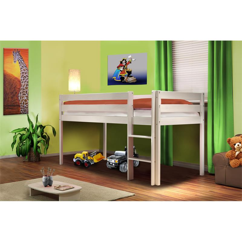 Children's Loft Bed Massive Pine Wood White SHB/1034