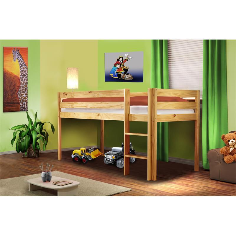 Children's Loft Bed Massive Pine Wood Natural Coloured Finish SHB/1035