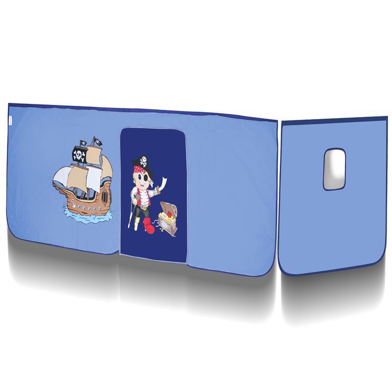 Hochbett Kinderbett Spielbett Massiv Kiefer Natur/Lackiert Pirat Blau SHB/77/1035