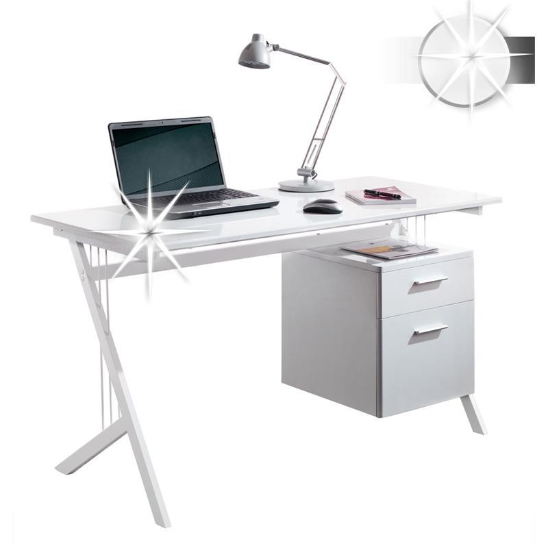 Sixbros scrivania porta pc bianco lucido ct 3365a 1128 - Porta computer bianco ...