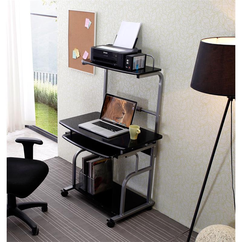 Mobile Computer Desk Pc Workstation Office High Gloss Black Ct 7800 1296