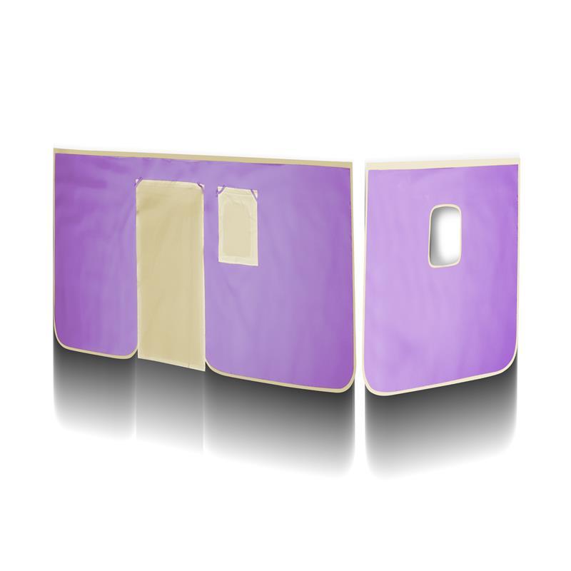sixbros vorhang stoff set f r hochbett lila beige vh 1415 ebay. Black Bedroom Furniture Sets. Home Design Ideas