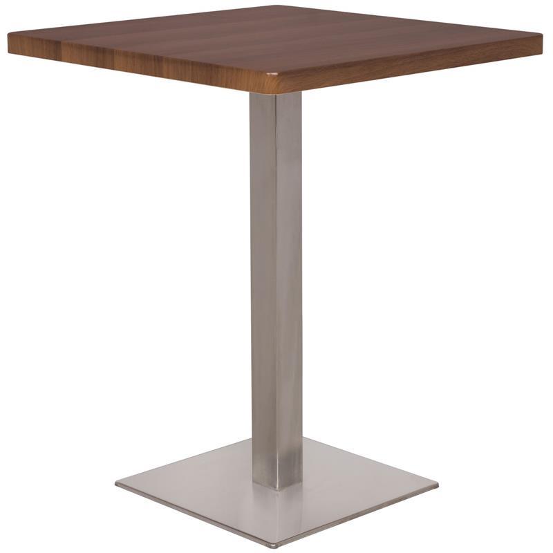 Bartisch Bistrotisch Tisch Nussbaum Holzoptik Eckig Edelstahlfuß 60x60x75 M-BT60/1431