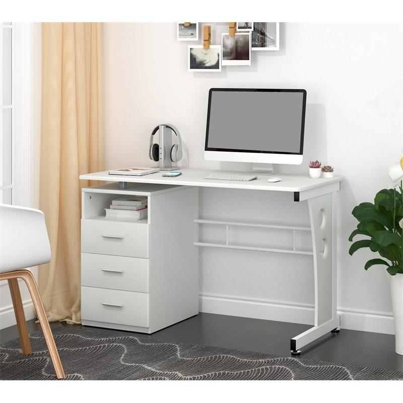 Sixbros scrivania porta pc tavolo ufficio bianco s 352 - Porta computer bianco ...