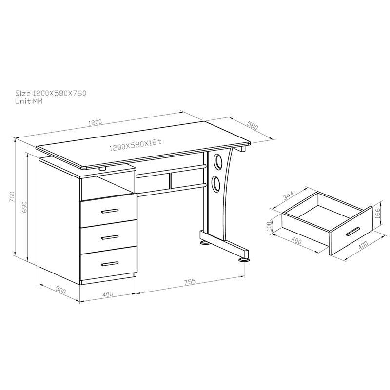 Sixbros computertisch tisch pc tisch computerschreibtisch for Schreibtisch holzoptik