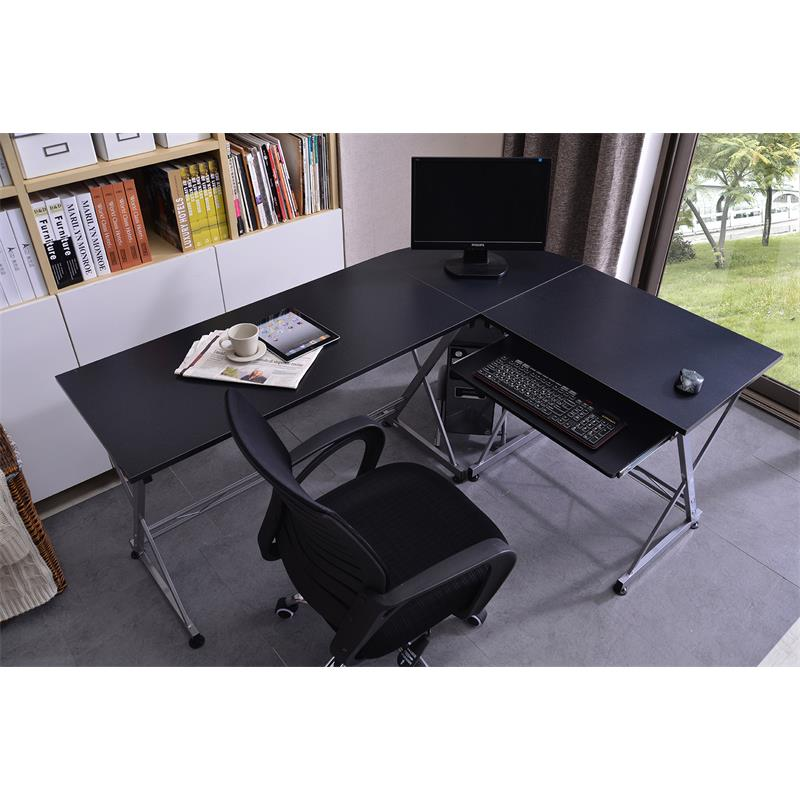 Sixbros bureau informatique meuble bureau noir ct 3802 for Meuble bureau noir