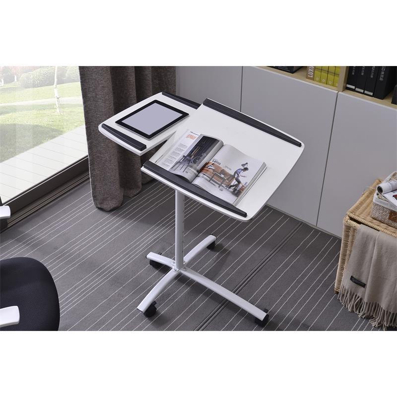 Mesa de ordenador port til blanco blanco plateado b 001n 2078 - Mesa portatil ordenador ...