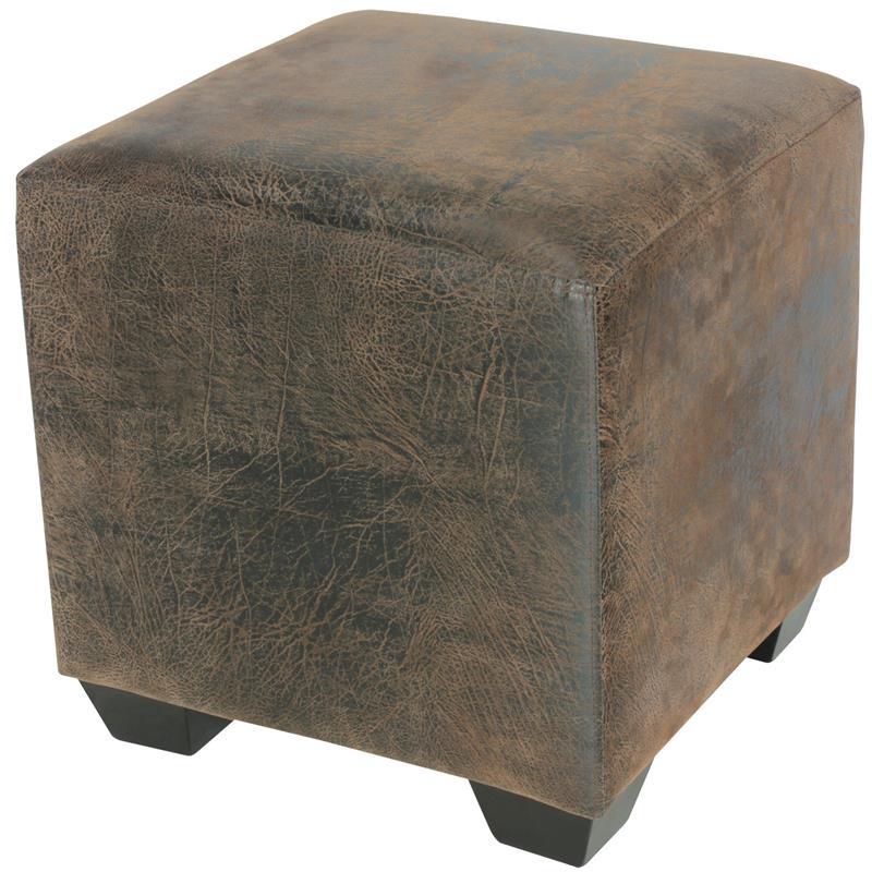 Sitzwürfel Sitzhocker Gepolstert Braun Antiklederlook 2001A/2087