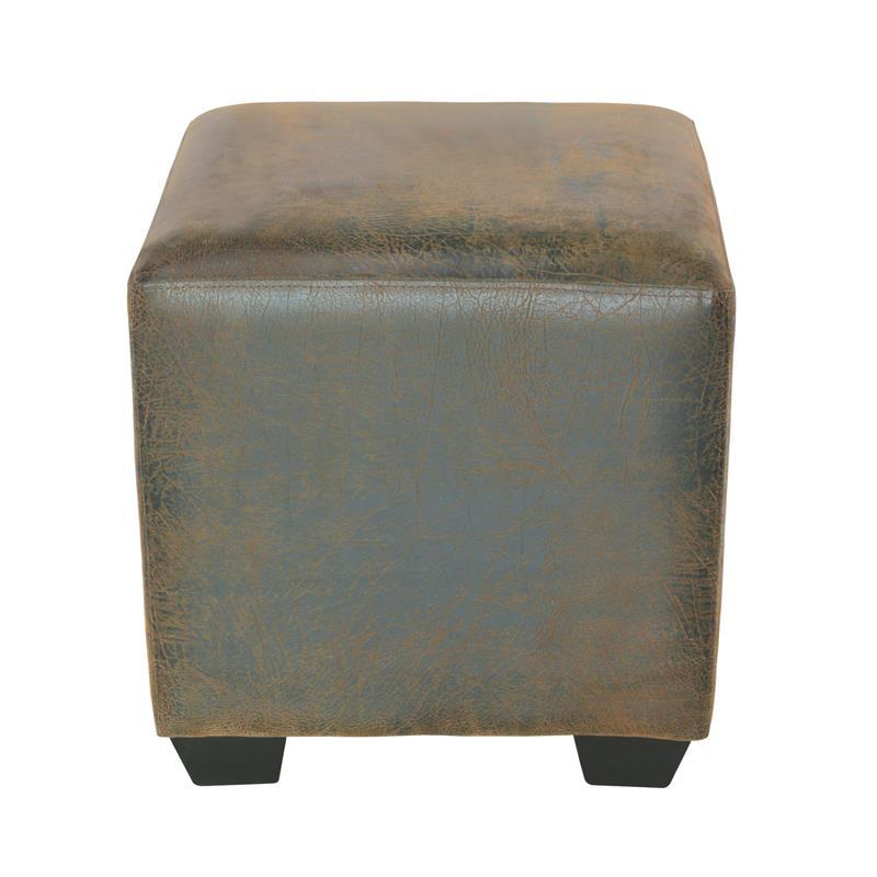 Pouf/Repose-pied rembourré brun cuir en look rétro 2001A/2087
