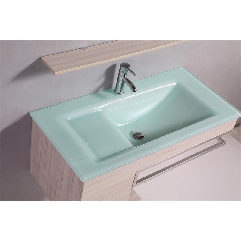 Sixbros Badezimmermöbel Set inkl. Glas Waschtisch und Unterschrank | {Badezimmermöbel holzoptik 38}