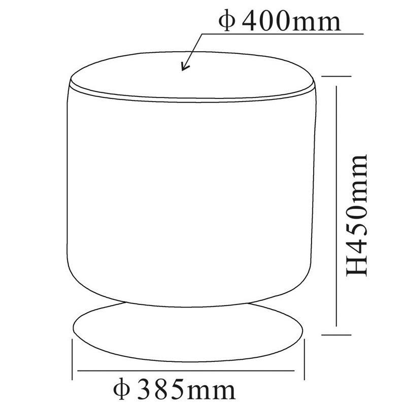 Pouf rembourré en cuir synthétique blanc M-60351/2143