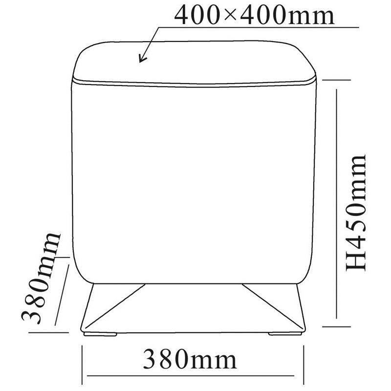 Pouf rembourré en cuir synthétique blanc M-61352/2145