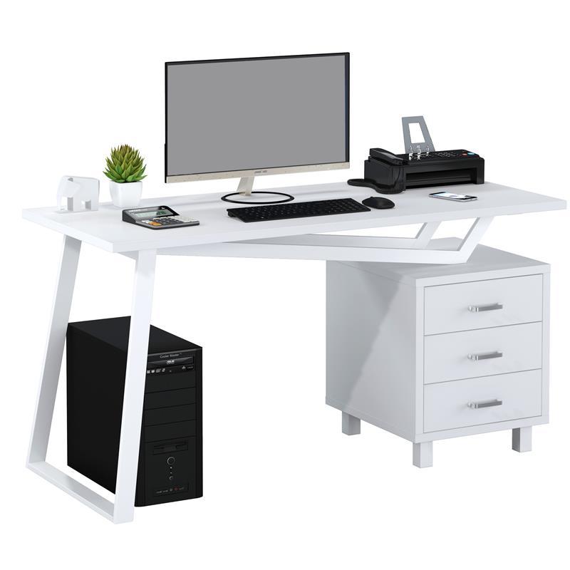 Scrivania Pc Bianca.Office Scrivania Porta Pc Bianco Lucido Ct 3533 2181