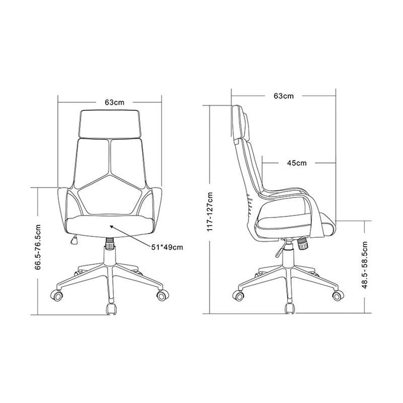 Bürostuhl skizze  Bürostuhl Chefsessel Drehstuhl Grau/Weiß 0898H/2253