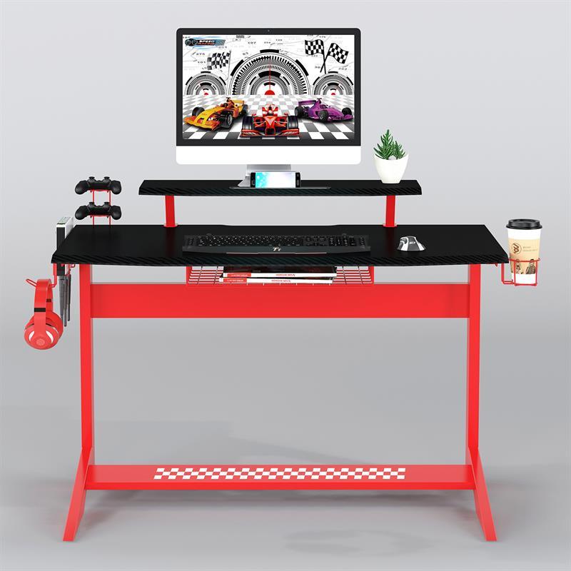 Bureau gaming en fibre de carbone noir/rouge GT-008/8189