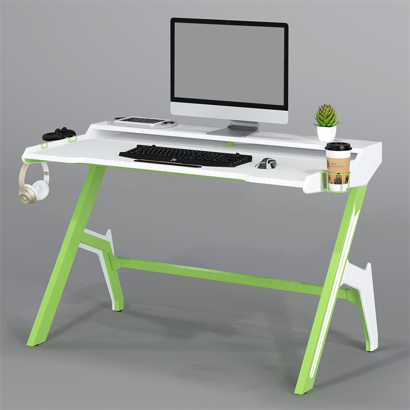 Gaming Computer Desk Gamer Desk Racing Carbon Optik Green/White GT-007/8395