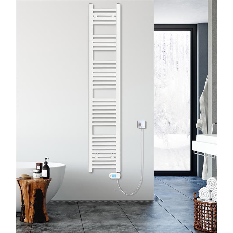Radiador de baño eléctrico Ancho: 500 mm recto blanco R01E