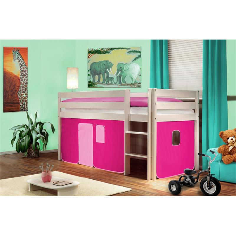 Hochbett Kinderbett Spielbett Massiv Kiefer Weiß Pink SHB/13/1034