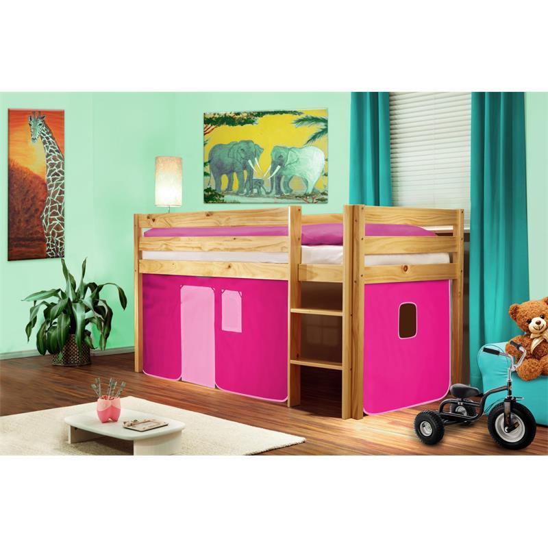 Hochbett Kinderbett Spielbett Massiv Kiefer Natur/Lackiert Pink SHB/16/1035
