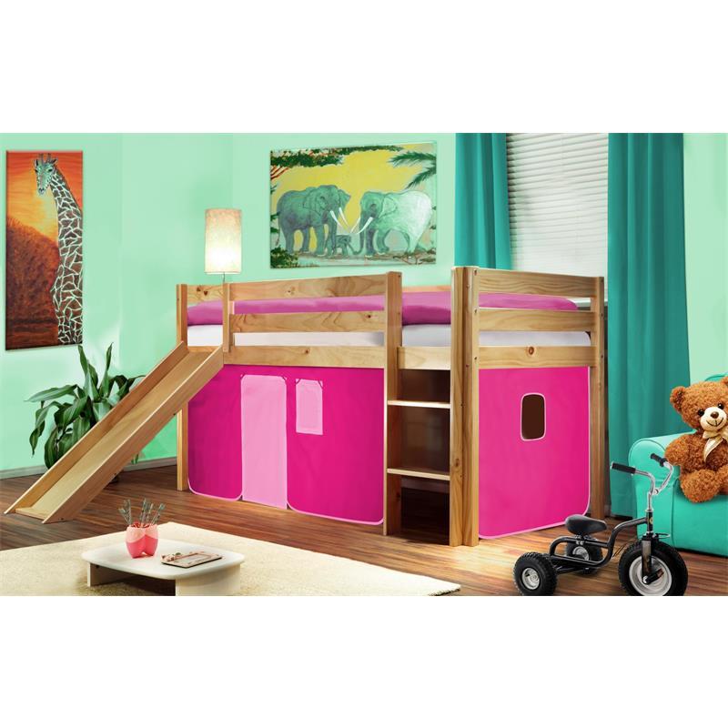 Hochbett Kinderbett Spielbett mit Rutsche Massiv Kiefer Natur/Lackiert Pink SHB/17/1033