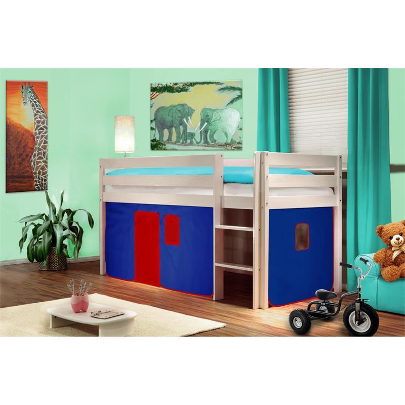 Hochbett Kinderbett Spielbett Massiv Kiefer Weiß Blau/Rot V2 SHB/19/1034