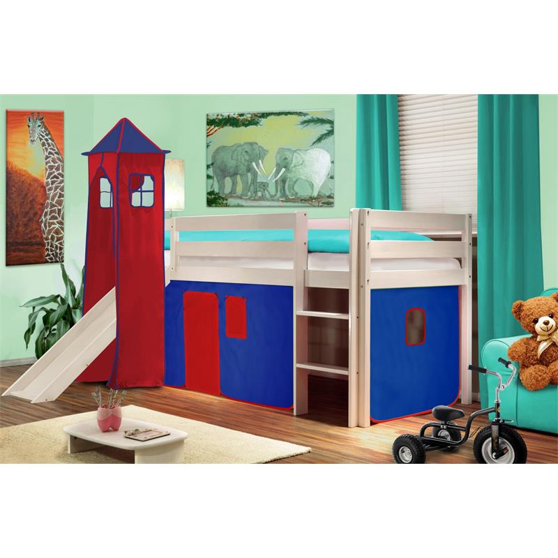 Hochbett Kinderbett Spielbett mit Turm und Rutsche Massiv Kiefer Weiß Blau/Rot V2 SHB/21/1032